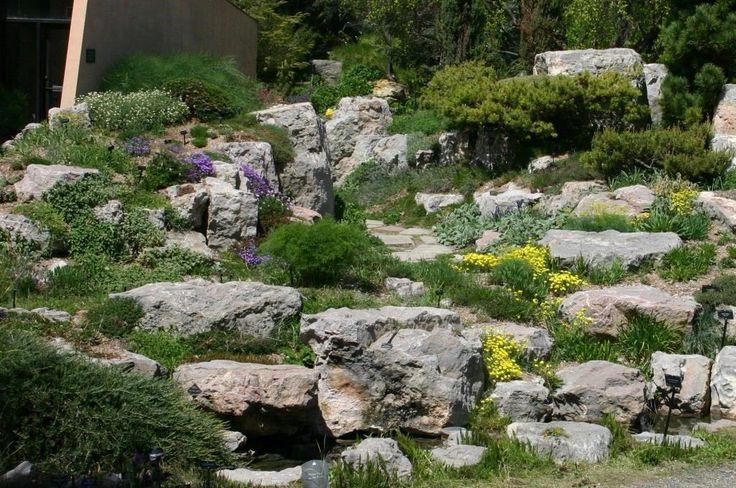 Idee giardino roccioso in pendenza con un aspetto molto naturale per un risultato molto bello da vedere ed armonioso - pietre irregolari, piante e colorati fiori alpine