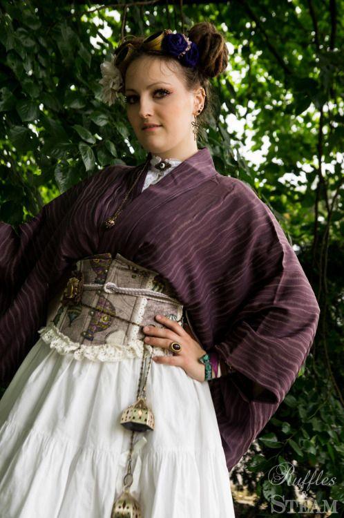 Ruffles and Steam, Steampunk Wa Lolita Outfit: skirt - Metamorphose,...