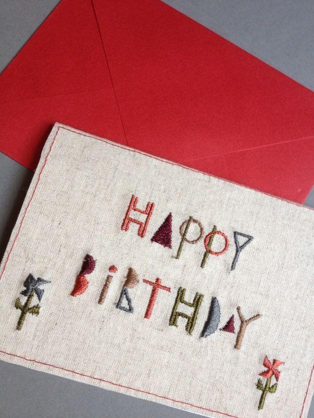 Birthday Cards – Embroidery Birthday cards – a unique product by bonitofracaso on DaWanda #Dawanda #BonitoFracaso #birthday-cards #Embroidery