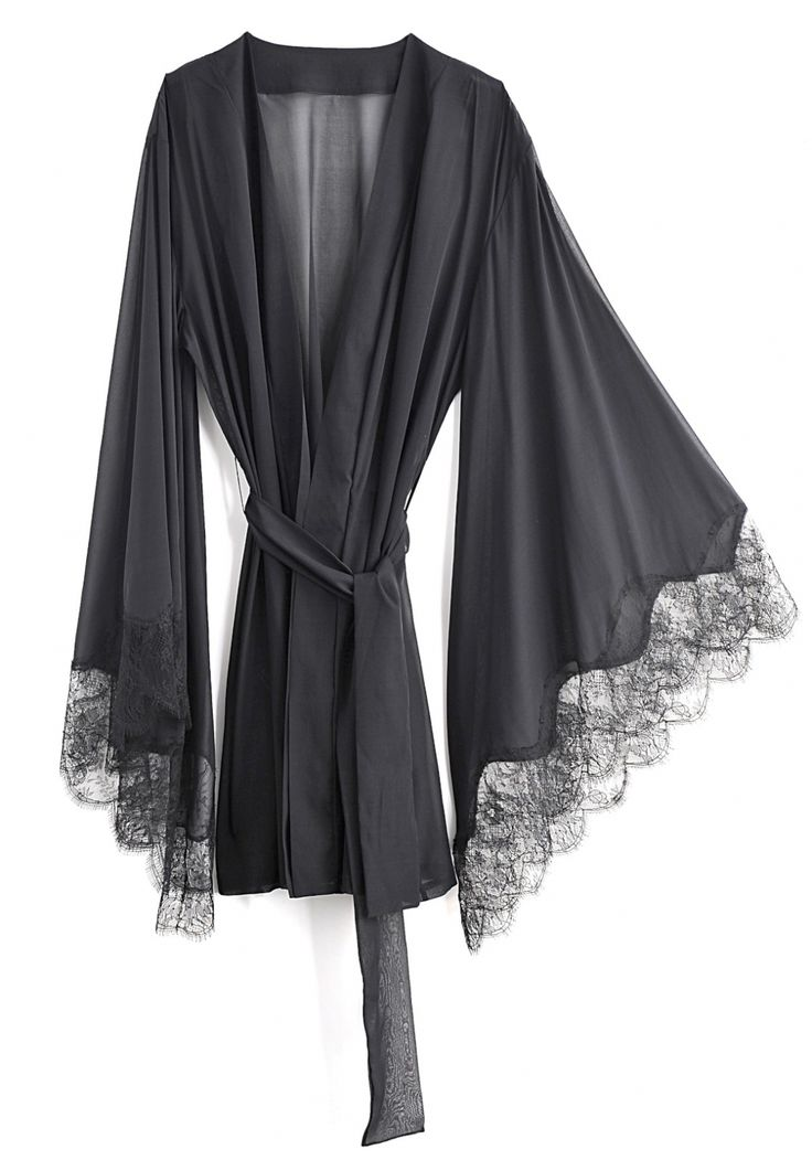 Gray with Lace Bell Sleeves Robe