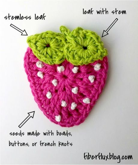 Crochet  Strawberry Applique - Tutorial ❥ 4U // hf