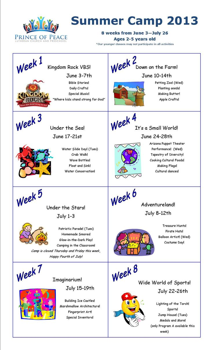 summer camp calendar 2013 - I love this idea to devote a week to different themes