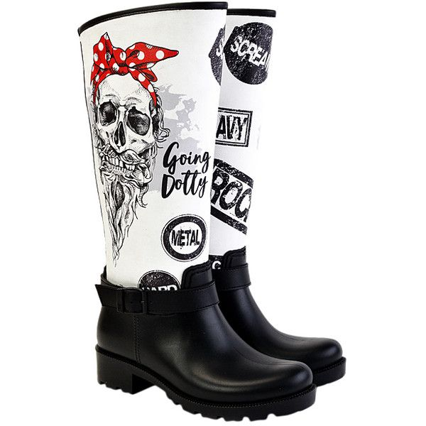WALKRAIN White & Black Skull Rain Boot ($55) ❤ liked on Polyvore featuring shoes, boots, knee-high boots, plus size, knee high rain boots, wellington boots, mid-heel boots, black and white boots and wellies boots