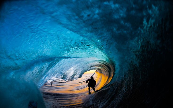 I Photograph Surfers From Inside Barrel Waves At Night | Bored Panda