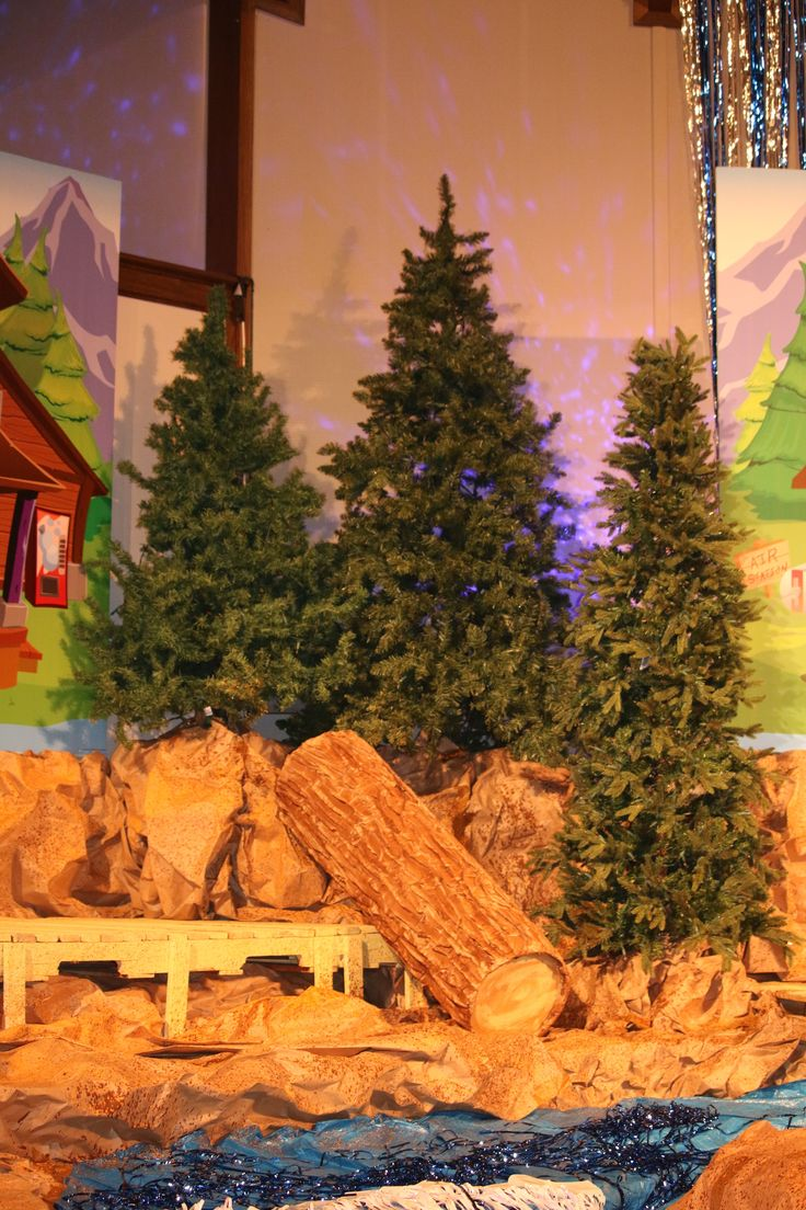 Vbs Camping Theme Decorating Ideas Part - 27: See How Using Several Trees On Stage Adds That Camp Look And Feel To Your  River