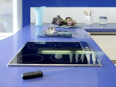 HGTV.com has inspirational pictures & ideas for painting kitchen countertops to mimic the look of granite, stainless steel, or even bright white marble.