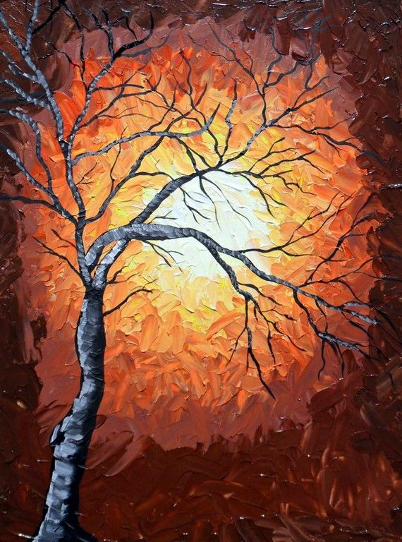 Golden Night Tree Original Acrylic Abstract by ArtFlutters on Etsy