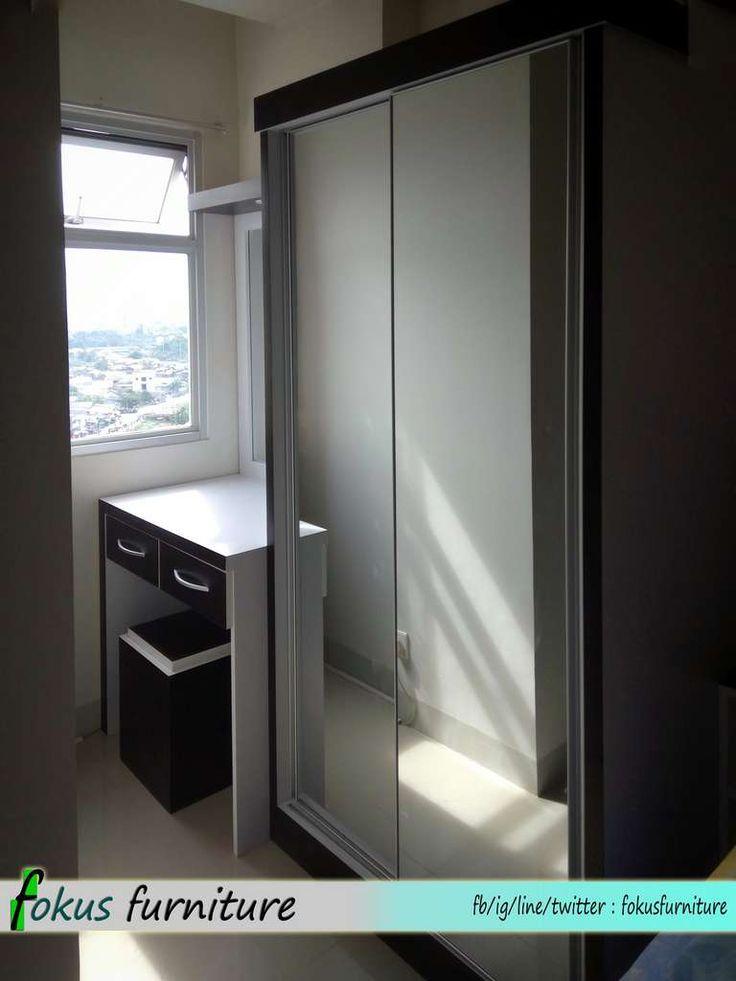 Lemari 2 pintu apartemen kaca cermin