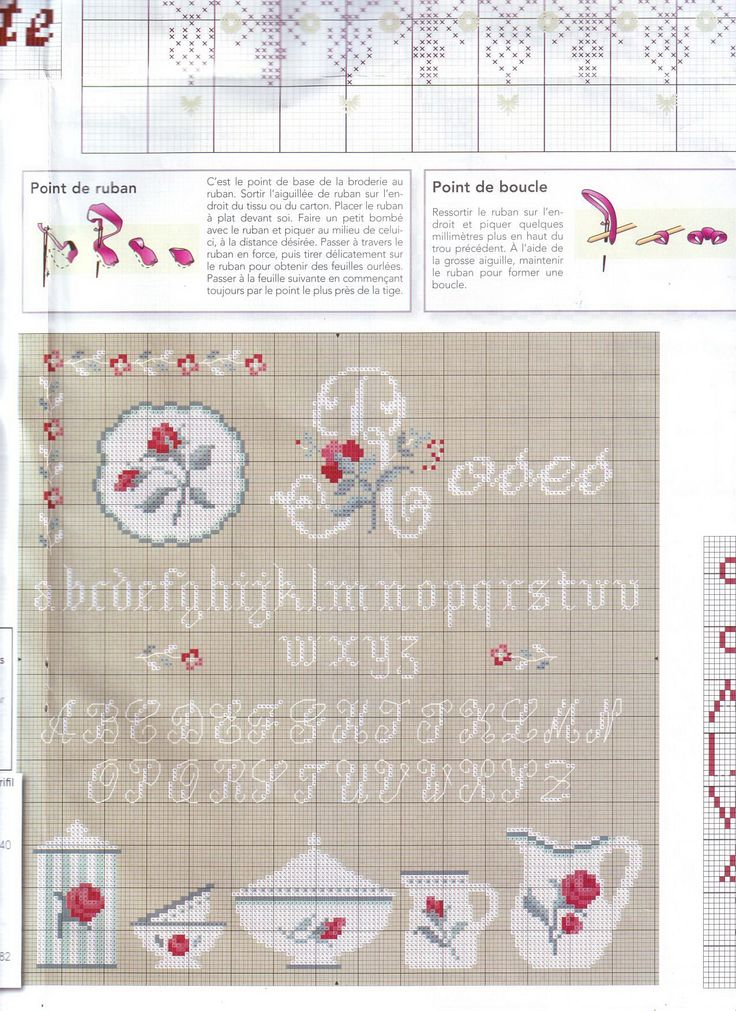 rose - point de croix - digoin - cross stitch - Blog : http://broderiemimie44.canalblog.com/