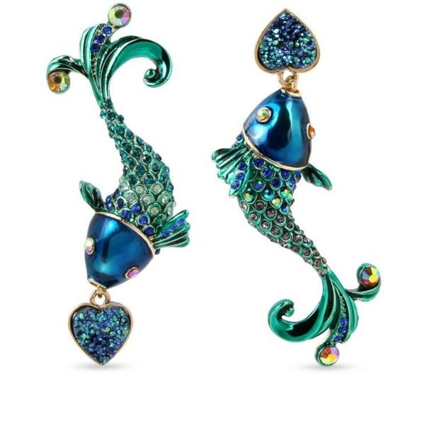 Betsey Johnson Multi Gold-Tone Fish Mismatch Drop Earrings ($48) ❤ liked on Polyvore featuring jewelry, earrings, multi, fish jewelry, clear earrings, betsey johnson jewellery, betsey johnson jewelry and earring jewelry