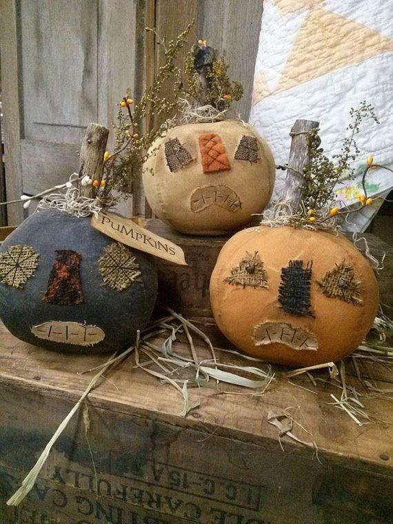 Primitive Pumpkins Jack O lantern JOL Spooky  Set by MeNtheGirls