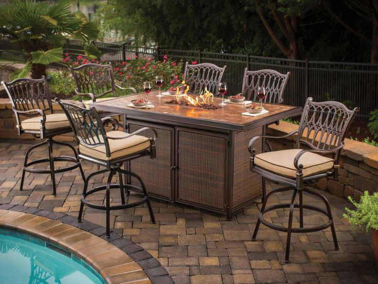 Rattan Dining Table With Gas Fire Pit