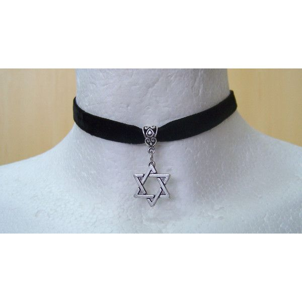 Black Velvet Choker with Star of David Charm Pendant / Star of David... ($4.45) ❤ liked on Polyvore featuring jewelry, necklaces, choker, charm pendants, charm pendant necklace, charm choker, choker necklaces and pendant necklaces