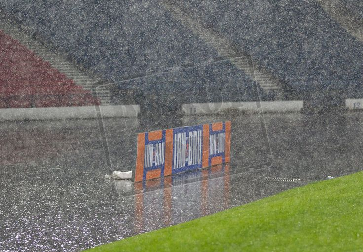 The heavens open up during the IRN-BRU Cup game between Queen's Park and Kilmarnock Colts.