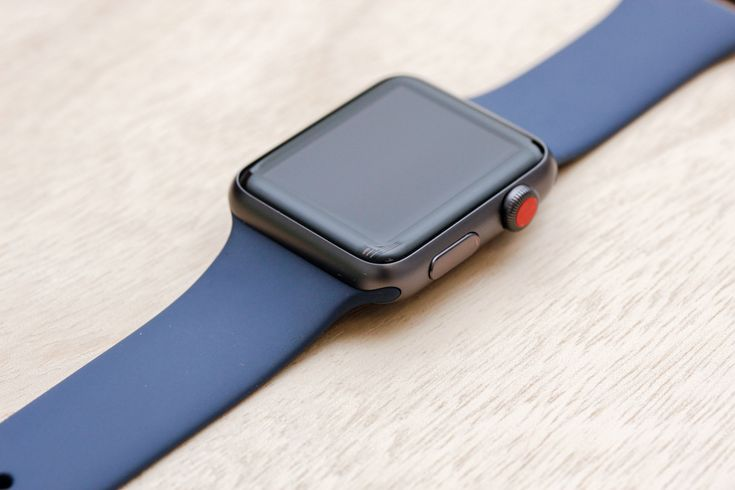 Apple Watch Sport Space Grey Case with Midnight Blue Sport Band.