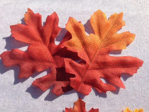 25 foglie di quercia artificiale autunno foglie arancio rosso