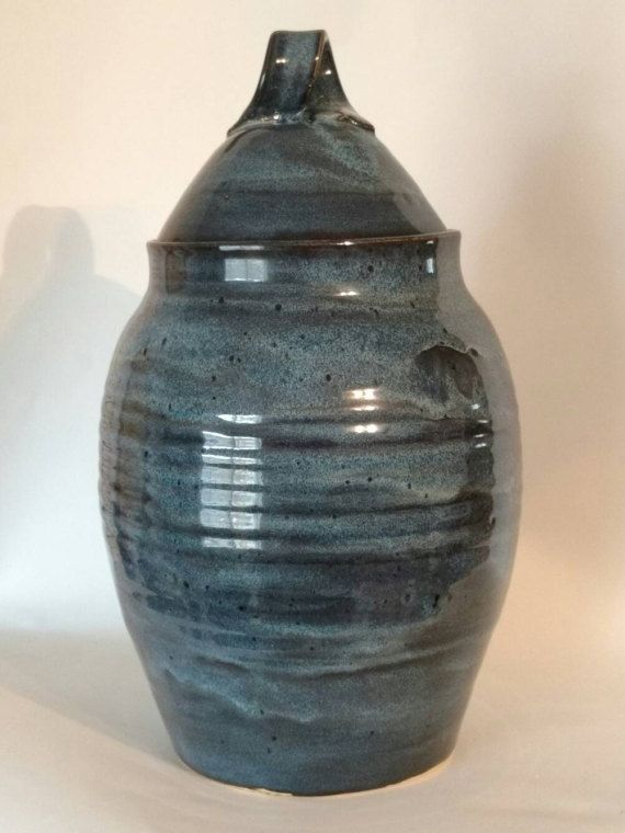 Pottery handmade burial urn adult capacity urn by AngelaNGraham