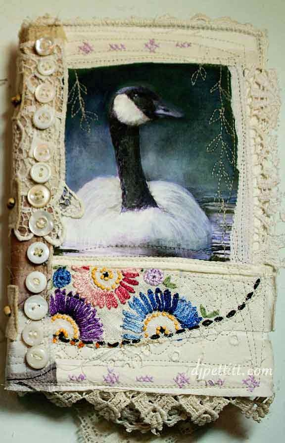mixed media altered book. This blog has some beautiful textured fabric pages…