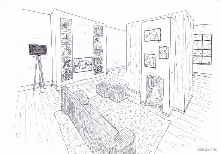 Interieurontwerp - schets - woonkamer - haard - hout