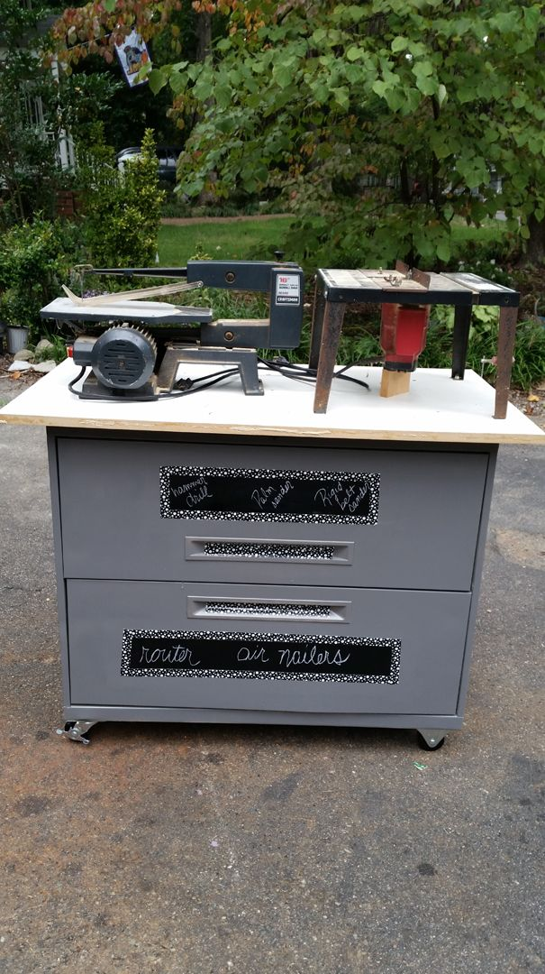 Turn That Old Lateral Filing Cabinet Into A Rolling Work Bench The Garden Frog Blog Pinterest