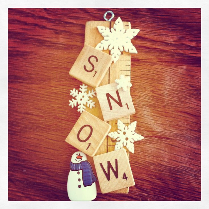 Ornament; yardstick piece, scrabble tiles and buttons :-)