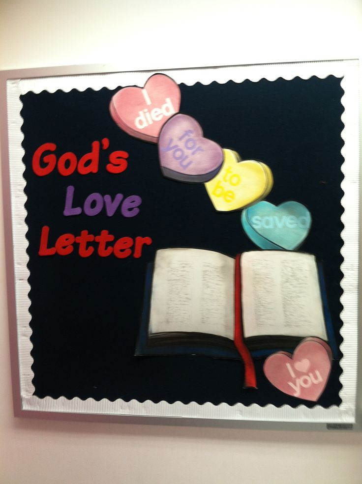 Valentine-themed Bible bulletin board