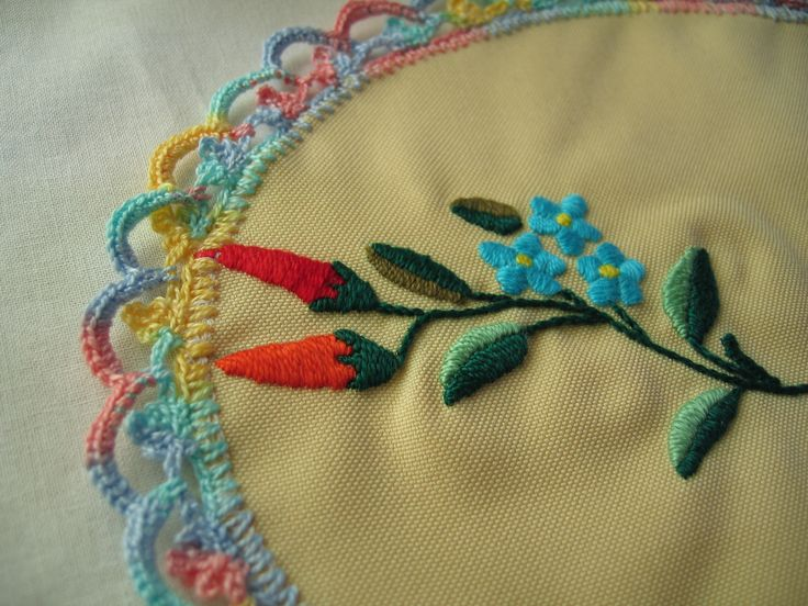 Detail of doily  with Hungarian embroidery
