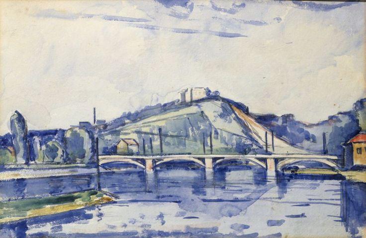 Josef Hubáček - Most v krajině - akvarel na kartonu, 30 x 44,5 cm, nesignováno, 20. léta 20. století, rámováno, pod sklem