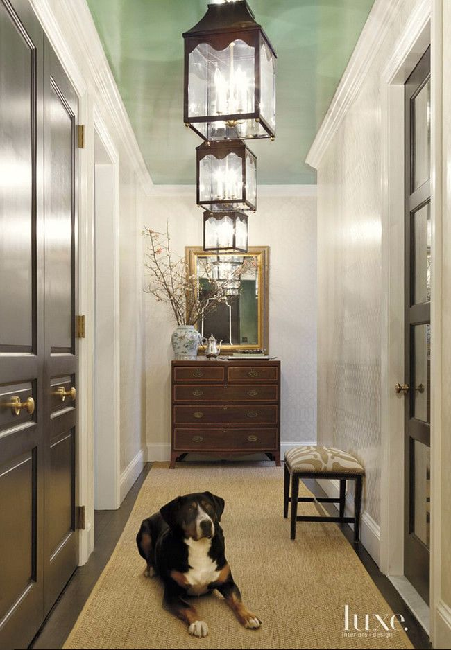 20 Breathtakingly Georgeous Ceiling Paint Colors and One That Isn't - laurel home |  the ceiling is Benjamin Moore Parsley Snips CSP 635 | interior by Jenny Wolf