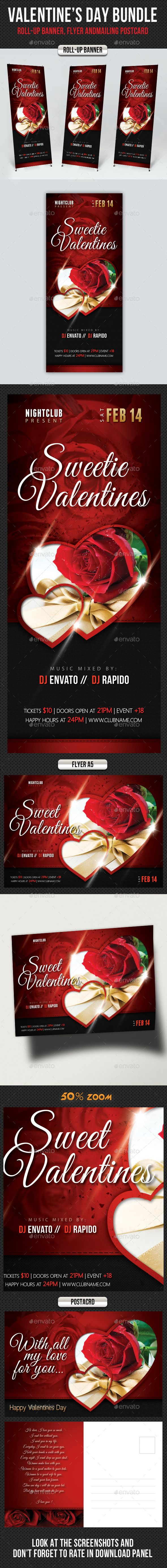 3 High Impact Valentines Day Roll-Up Banner, Flyer and Mailer Postcard Templates, perfect for Valentines Day Event advertisement! Save your time and money! Pack included:  3 Template Layouts 4 PSD files Fully layered and editable Easy to Customise Print Ready Smart object placeholders Safe Guides, Trims, Bleeds Preview images not in