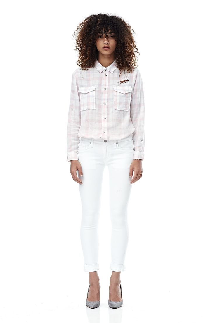 Love these white Hudson jeans! Click the picture to save 20% today! The Tally Crop Skinny jean is our new seasonal fit that embodies a classic skinny jean with a double rolled cuff that can be unrolled for a longer inseam. This Tally jean allows for optimal stretch without losing its shape, and is finished with an optic white wash.