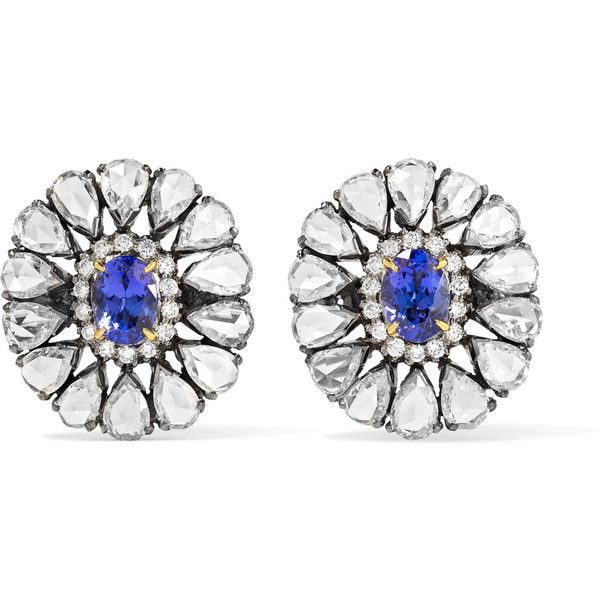 Amrapali 18-karat gold, diamond and tanzanite earrings ($16,450) ❤ liked on Polyvore featuring jewelry, earrings, handcrafted jewelry, diamond post earrings, post earrings, 18 karat gold earrings and handcrafted earrings