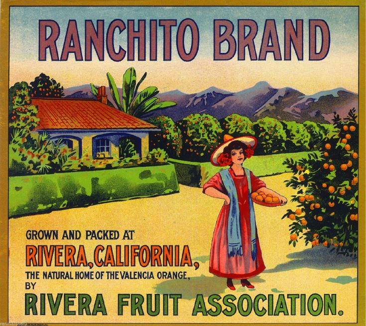 Rivera Los Angeles Ranchito Woman Orange Citrus Fruit Crate Label Art Print