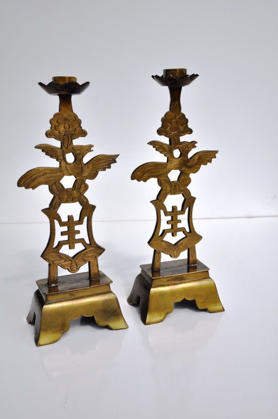 Antique Candle Holders Sticks Brass Chinese Late 1800s