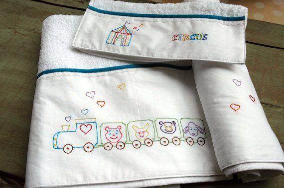 set 2 baby towels circus bath hand towel by babysdreamfairytales