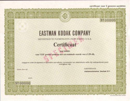 Eastman Kodak Company > Netherlands specimen camera film stock certificate share