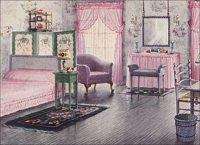 1925 Mauve & Gray Bedroom by Armstrong Cork Co.    Source: House Beautiful