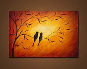 Love Birds- Abstract Landscape Painting Print. Bird Art. Free Shipping inside US.