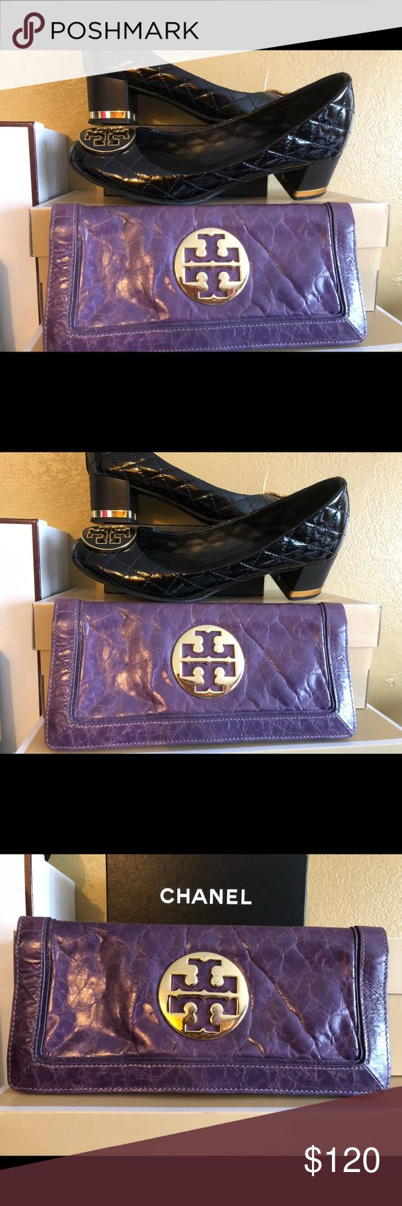 Tory Burch purple clutch/ wallet Clutch with credit card holder will also fit a Plus cell phone Tory Burch Bags Clutches & Wristlets