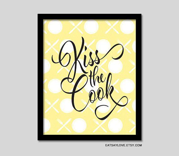 Kiss The Cook Kitchen Decor Kitchen Print Xo Funny Kitchen Print Kitchen Quote Housewarming Gift Utensil Print Kitchen Art