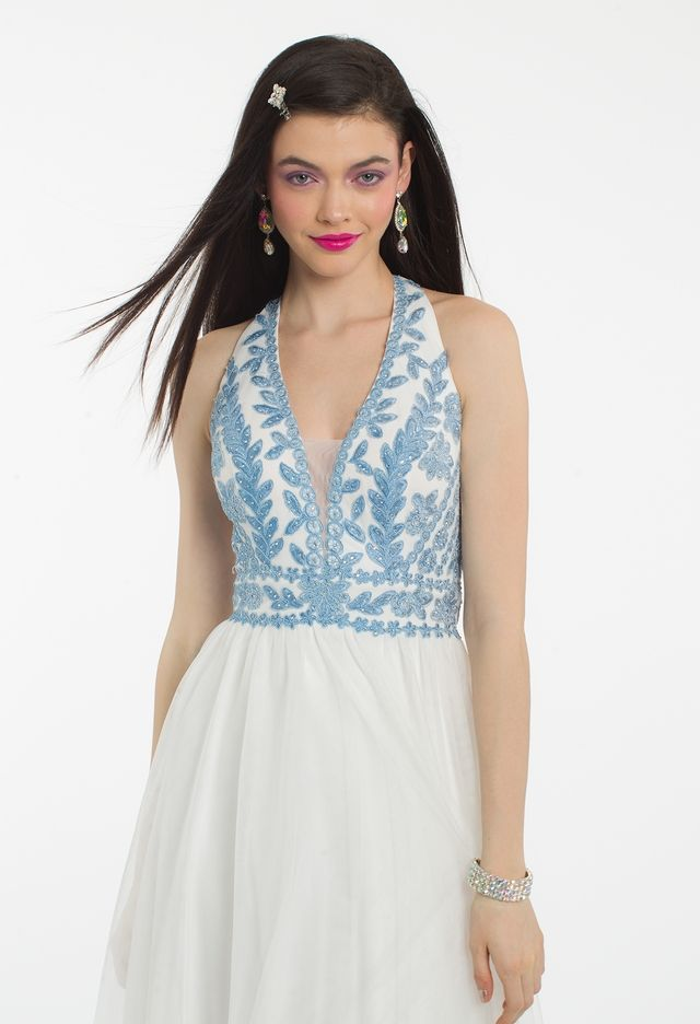 Embroidery Halter Illusion Plunge  Dress from Camille La Vie