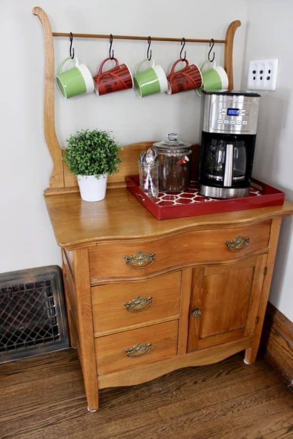 Creating A Coffee Bar And Beverage Station In 2020 Vintage Bedroom Furniture Rustic Bedroom Furniture Bar Furniture