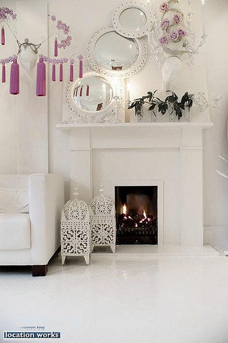 White fireplace feature