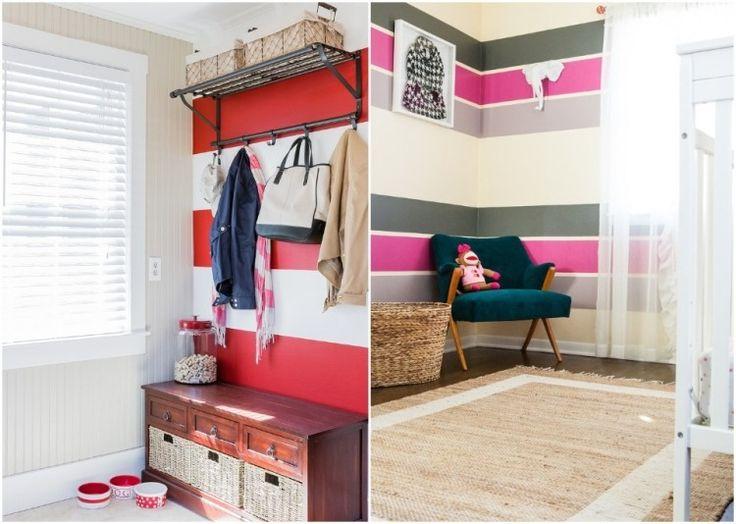 Mer enn 25 bra ideer om Wand streichen streifen på Pinterest - wohnzimmer gestalten rot