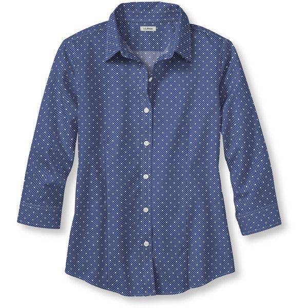 L.L.Bean Wrinkle-Free Pinpoint Oxford Shirt, Three-Quarter Sleeve Dot (€45) ❤ liked on Polyvore featuring tops, blue oxford shirt, womens plus tops, fitted button-down shirts, blue polka dot shirt and fitted shirt