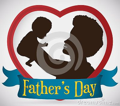 Silhouette of a loving brunette dad inside a heart with his baby in arms high up and a greeting ribbon celebrating Father's Day.