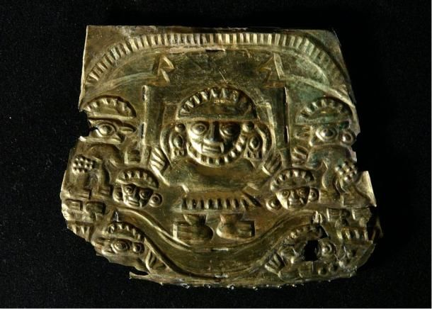 The god Naymlap on his boat, gold plate, Chimu 1000-1450 AD.