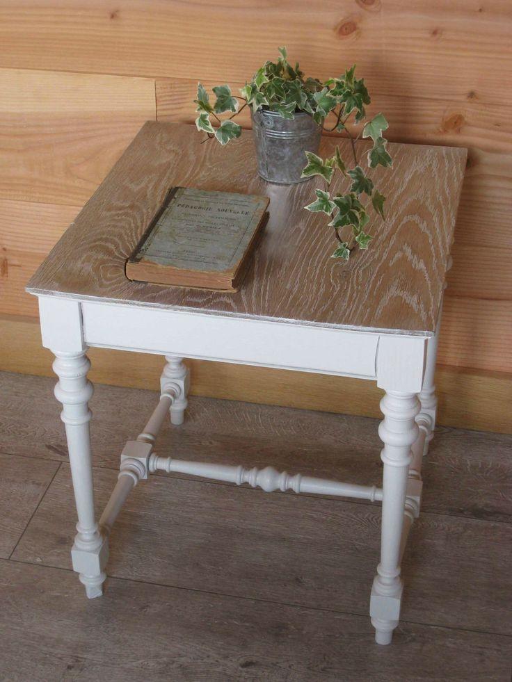 Bout de canapé, table basse ... dessus chêne cérusée à l'ancienne, piètement peint coloris Lin