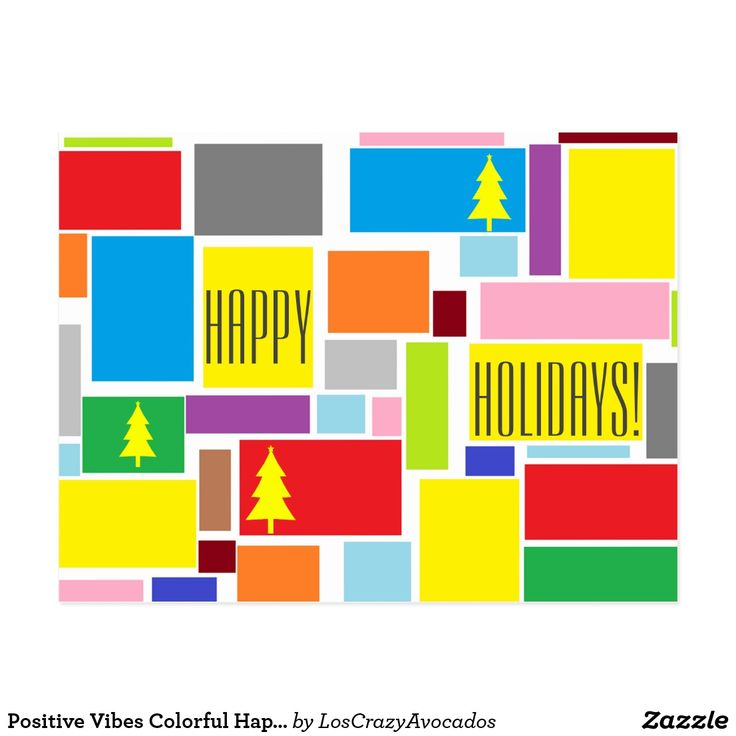 Positive Vibes Colorful Happy Holidays Postcard