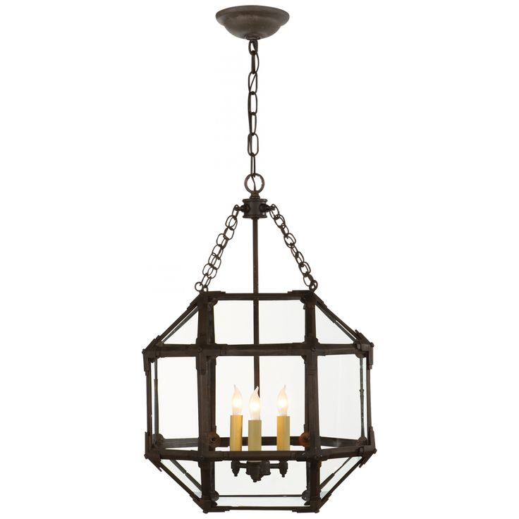 Morris Small Lantern in Antique Zinc with Clear